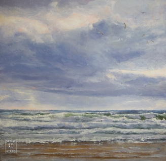 A Cannon Welcome SOLD $2800 (36x36 oil on gallery wrap canvas). seagull songs and light-filled wave. a perfect welcome.