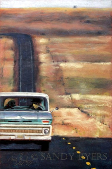 A Good Day After All SOLD (18x12 dry pastel). Travelling ochre-colored rolling hills of eastern Oregon, it seemed we had the entire world to ourselves. It was kind of exciting to see another vehicle on the road! We past this fella and his dog and I turned around to snap a photo of the two of them and realized they were talking. Cute.