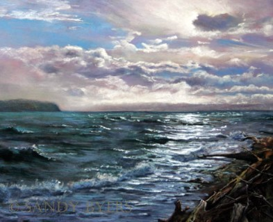 Backside of the Storm SOLD (16x20 dry pastel). This is a view of the Saratoga Passage on Whidbey Island after the storm passed through. Even though the waters are still churning, there is a calmness just around the bend. The sun shining through the clouds is a testament to that distant calmness.
