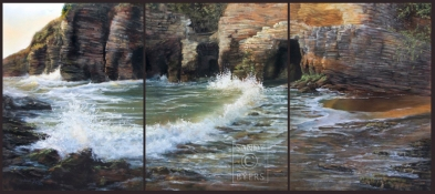 Back to Morro SOLD (24x54 triptych. dry pastel). The only thing even remotely close to being there is this...painting this, standing in front of this, absorbing this. Every inch of this piece is filled with the excitement of the sea as I recalled standing on the shores along the coast of Morro, California, with my heart pounding faster and faster as each wave struck the rocks in front of me.