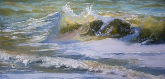 Breathing the Sea SOLD $2000 (18x36 oil painting, gallery wrap). each wave contributes breath for the soul.