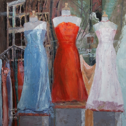 SOLD. Evening Wear $2800 (36x36 oil, gallery wrap). elegance reflected in shop windows and dreams of a night well-dressed.