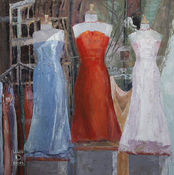 Evening Wear $2800 (36x36 oil, gallery wrap). elegance reflected in shop windows and dreams of a night well-dressed.
