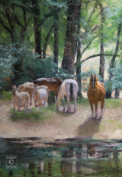 Forest Gypsies $2800 (36x24 oil, gallery wrap). silent by night; stealing freedom by day.