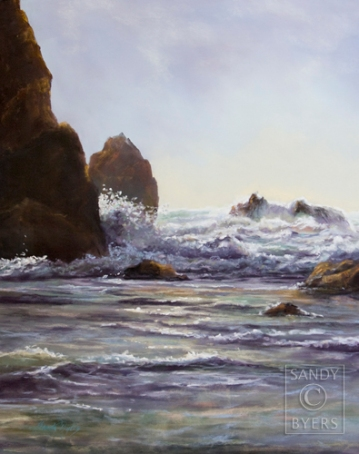 In Perfect Rhythm SOLD (20x16 dry pastel). Walking this beach along the Oregon coast, I found solitude and comfort among the giant protective rocks that jet out along the sandy beaches. Between the rocks and the sound of the water swooshing onto the beach there is peace and plenty of room to ponder matters of the heart.