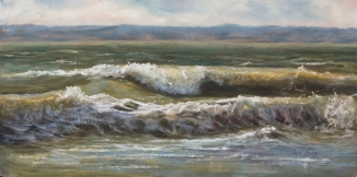 Saratoga Gold SOLD (12x24 dry pastel). Outside my studio lies the Saratoga Passage; the waterway that lies between Whidbey and Camano islands. This passage is home to migrating Gray whales, provides food for the nearby nesting eagles and feeds my soul on a daily basis. To experience the nuances of this magnificent waterway on a daily basis is an absolute blessing.
