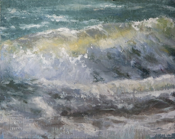Whidbey Wave SOLD (11x14 oil on linen panel). holding onto the light by brush.