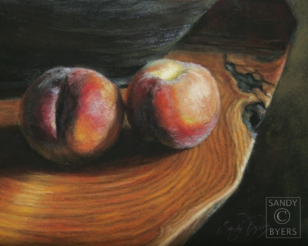 A Pair of Peaches SOLD (11x14 dry pastel) my favorite fruit.
