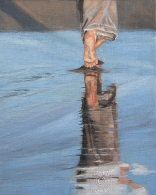 Chasing Summer $1200 (20x16 oil on linen panel) little boy toes.
