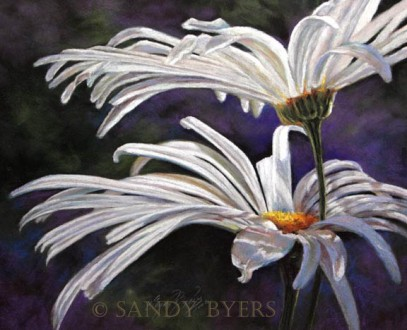 Daisy and May SOLD (19x23 dry pastel) the pureness of summer.