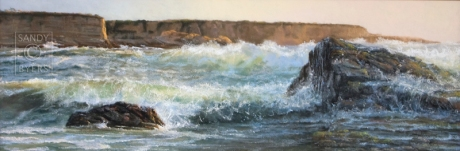 Return to Morro $3500 (16x46 dry pastel on panel). every inch of this piece is filled with the excitement of the sea as I recalled standing on the shores along the coast at Morro Bay, CA, with my heart pounding faster and faster as each wave struck the rocks in front of me.