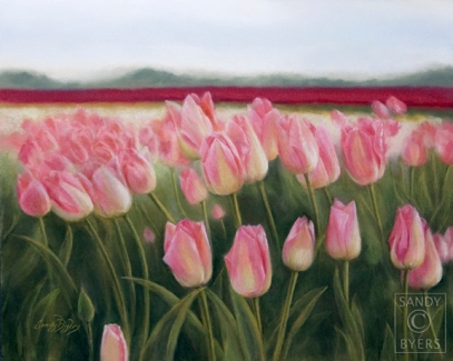 Skagit Pinks $975 (16x20 dry pastel) La Conner; an artist's playground.