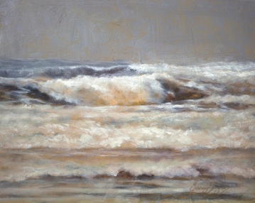 Breaking through the Storm SOLD (8 x 10 oil). Oregon's rushing sea.