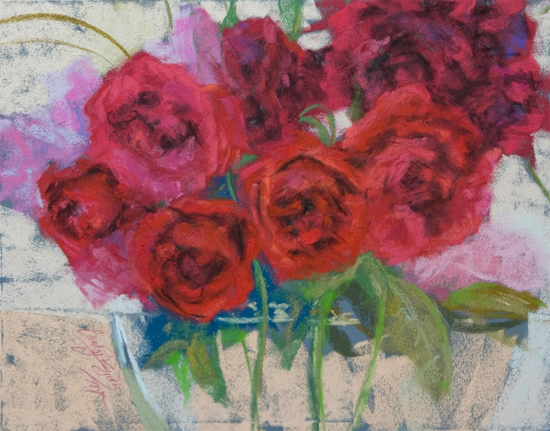 Petal Party $875  (11x14 pastel on panel). all the girls are laughing.