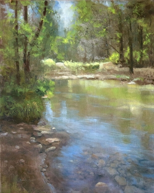 Along the Skykomish $1200 (16x20 oil on panel). The river of life; feeding man, fish and artists alike.