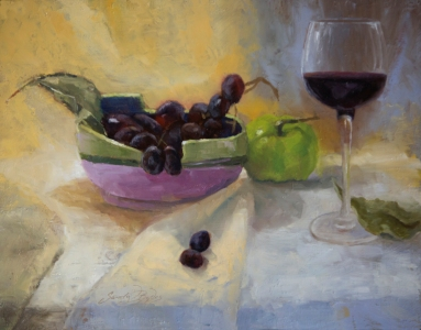 """Chopstick Bowl and Wine""$925 (11 x 14 oil on panel). I sculpted the chopstick bowl several years ago and find it suitable for so many things besides just chopsticks."