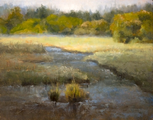 """Daybreak at Edmonds Marsh""$925 (11 x 14 oil on panel). Early morning; Edmonds WA and, in the middle of the city, the only sound I could hear was the fog settling and the train rolling down the track."