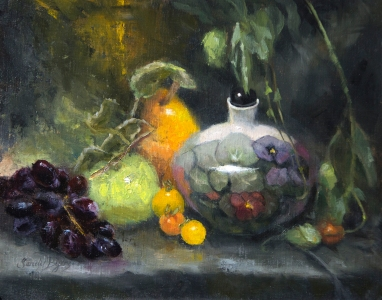 """Nasturtium Pot""$925 (11 x 14 oil on linen panel). I sculpted the porcelain pot quite a while ago and thought it a fun subject for this still life painting."